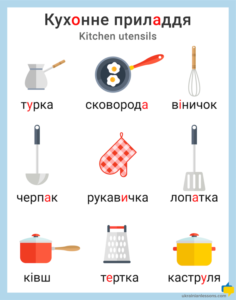 kitchen utensils in Ukrainian
