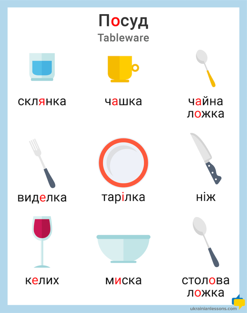tableware in Ukrainian