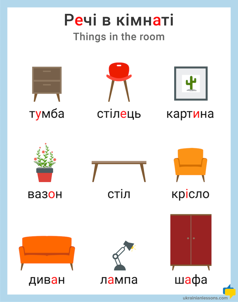 things in the room in Ukrainian